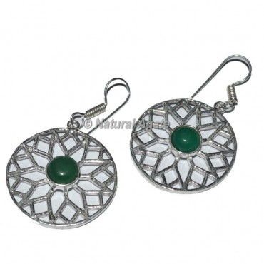 Round Shape Earrings With green Stone