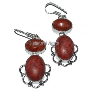Fashion Red Jasper Oval Earrings