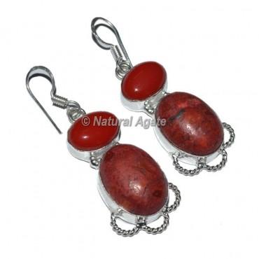 Red Onyx-Red Jasper Oval Earrings