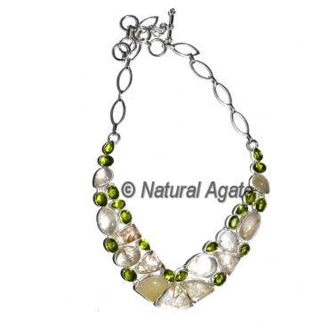 Crystal Quartz With Green Stone Necklace