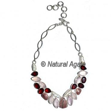 Rose Quartz with Garnet Stone Necklace