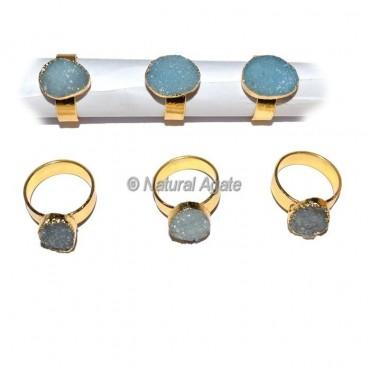 Sky Blue Druzy Agate Ring
