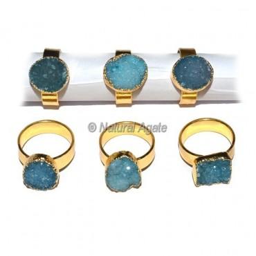 Blue Druzy Agate Ring
