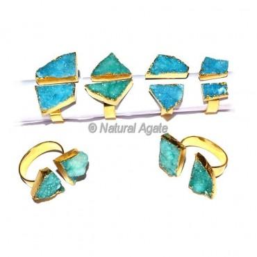 Blue Onyx Double Druzy Ring