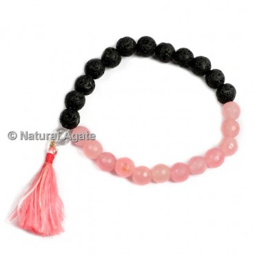 Lava and Rose Quartz Mix Healing Yoga Bracelet