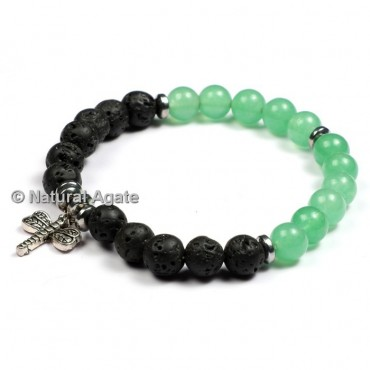 Lava And Green Aventurine Healing Yoga Bracelet