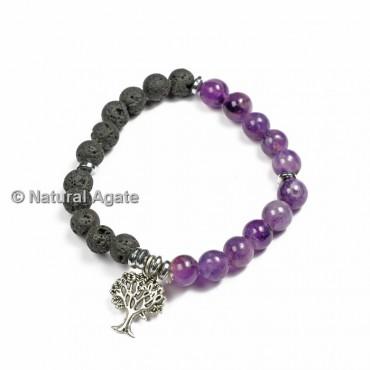 Lava And Amethyst Healing Yoga Bracelet