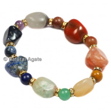 Tumbled Stones Seven Chakra Healing Yoga Bracelet