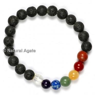 Lava with Seven Chakra Healing Yoga Bracelet