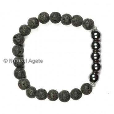 Lava and Black Tourmaline Healing Yoga Bracelet