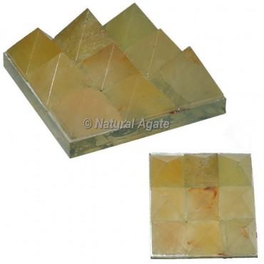 Golden Quartz Lemurian 9 Pyramid Charging Plate