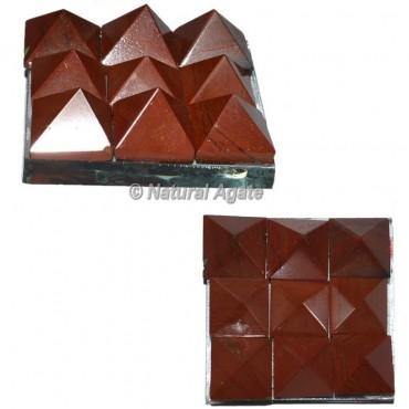 Red Jasper Lemurian 9 Pyramid Charging Plate