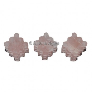 Rose Quartz Lemurian 54 Cut Cube Pyramid