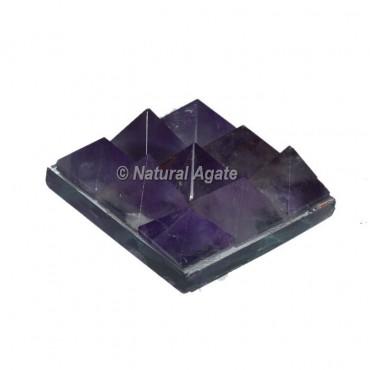 Amethyst Lemurian 9 Pyramid Charging Plate