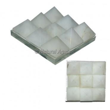 White agate Lemurian 9 Pyramid Charging Plate