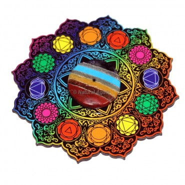 7 Chakra Printed With Bonded Stones Incense Burner