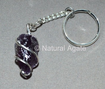 Amethyst Natural Wrap Pendulum Keychain