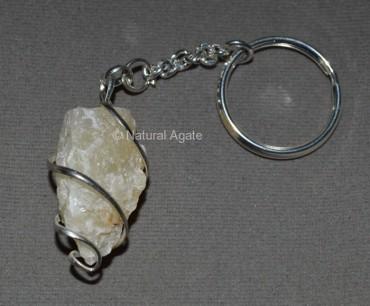 Golden Quartz Natural Wrap Pendulum Keychain
