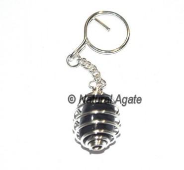 Black Agate Cage Tumbled Keychain