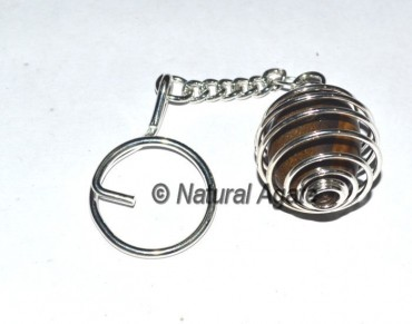 Tiger Eye Cage Tumbled Keychain
