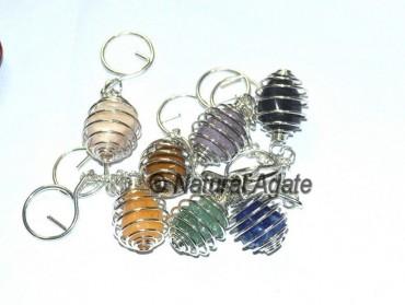 Mix Gemstone Cage Tumbled Keychain
