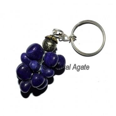 Blue Dyed Tumbled Grape Keychain