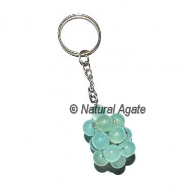 Aqua Onyx Round Grap Keychain