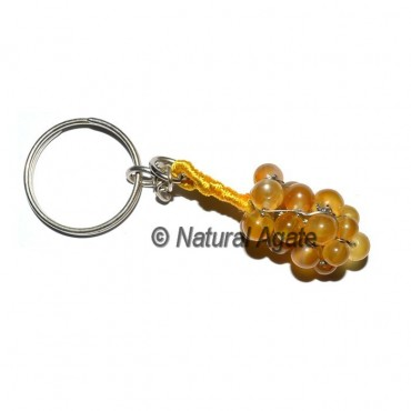 Yellow Agate Grap Round Keychain