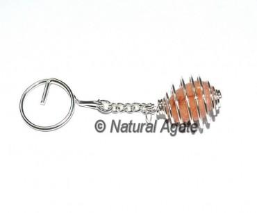 Peach Aventurine Cage Keychain