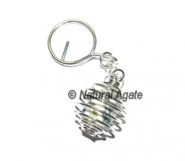 Tree Agate Cage Tumbled Keychain