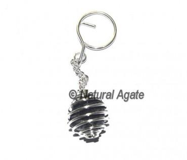 Black Tourmaline Cage Tumbled Keychain