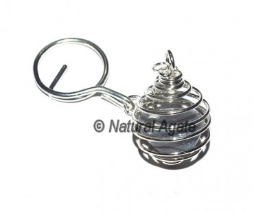 Grey Agate Tumbled Cage Keychain