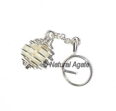 Golden Quartz Tumbled Cage Keychain