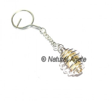 Banded Agate Tumbled Cage Keychain