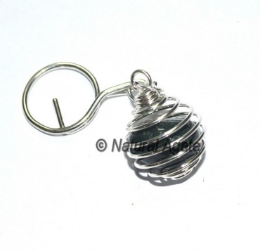 Moss Agate Tumbled Cage Keychain