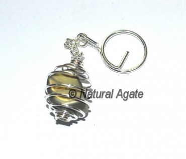 Pyrite Tumbled Cage Keychain