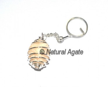 Cream Moon Stone Tumbled Cage Keychain