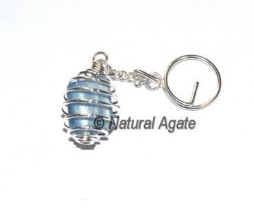 Kyanite Tumbled Cage Keychain