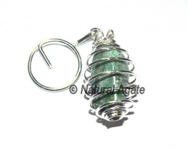 Green Jade Tumbled Cage Key chains
