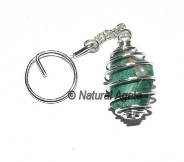 Dark Green Tumbled Cage Keychain