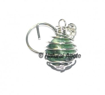 Green Tumbled Cage Keychain