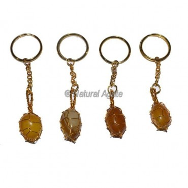 Yellow Onyx Wrap Tumbled Keychain