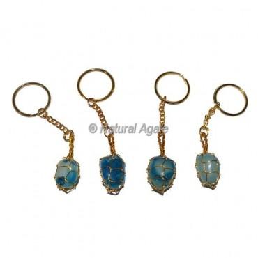 Blue Onyx Tumbled Wrap Keychain