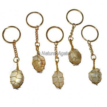 Banded Agate Tumbled wrap Keychain