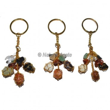 Tumbled and Chips Multi Color Keychain