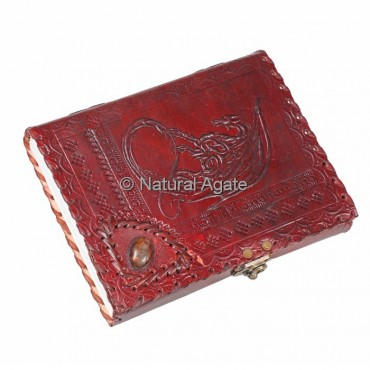 Printed Red Leather Journals with Agate Stone