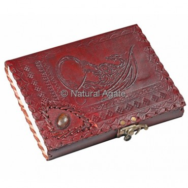 Printed Red Leather Journals with Agate Stone $$