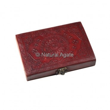 Simple Design Printed Red Leather Journals