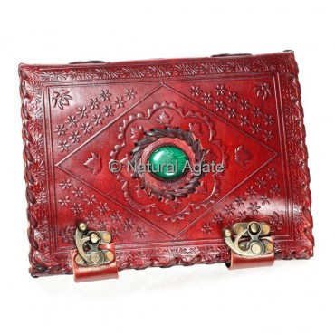 Printed Red Leather Journals with Malcahite Stone