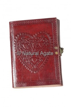 Heart Design Red Leather Journals